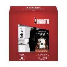 Bialetti Moka Express 6 Tassen + 200g Nocciola gemahlen - Geschenkset