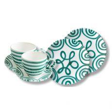Gmundner Keramik Grüngeflammt Frühstück für zwei Classic - Geschenkset