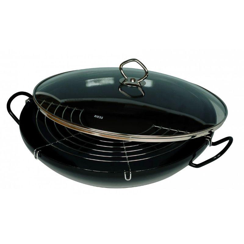 riess wok komplett stahlglasur 36 cm. Black Bedroom Furniture Sets. Home Design Ideas