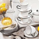 Gmundner Keramik Grauer Rand Frühstück für zwei Classic